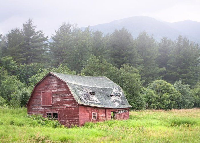 Landscape Greeting Card featuring the photograph Rustic Landscape - Red Barn - Old Barn And Mountains by Gary Heller