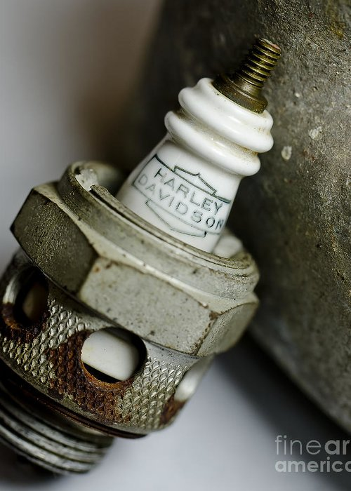Motorcycle Spark Plugs Greeting Card featuring the photograph Rusty Old Spark Plug 5 by Wilma Birdwell