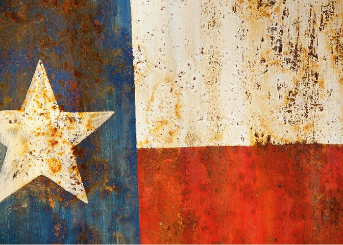 Texas Greeting Card featuring the photograph Rusty Texas Flag Rust And Metal Series by Mark Weaver