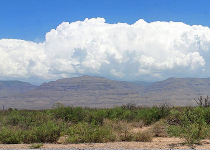 Panoramic View Of Sacramento Mountains Greeting Card featuring the photograph Sacramento Mountains Storm Clouds by Jack Pumphrey