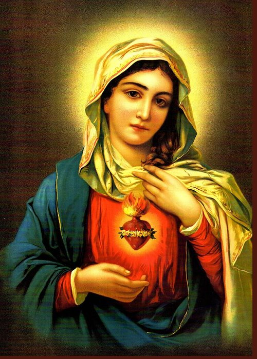 Sacred Greeting Card featuring the digital art Sacred Heart by Unknown