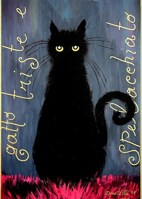 Cat Greeting Card featuring the painting Sad And Ruffled Cat by Donatella Muggianu