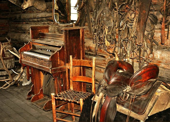 Piano Greeting Card featuring the photograph Saddle And Piano by Marty Koch