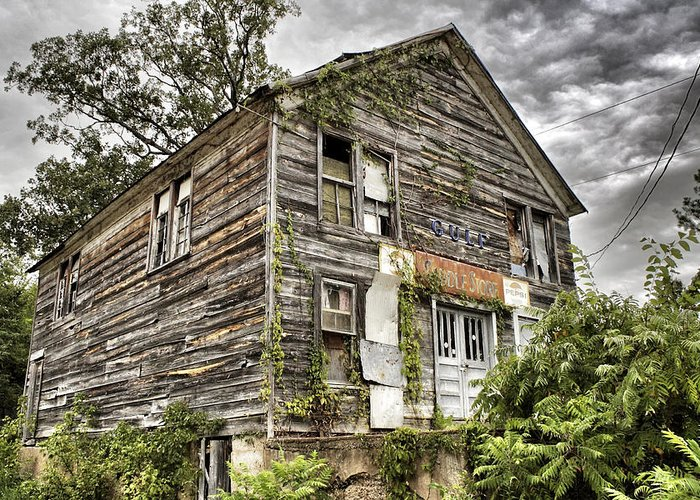 Rustic Greeting Card featuring the photograph Saddle Store 1 Of 3 by Jason Politte