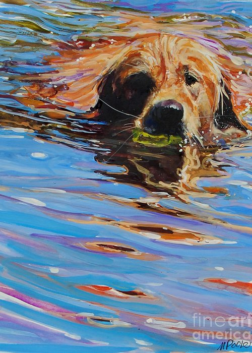 Golden Retriever Greeting Card featuring the painting Sadie Has A Ball by Molly Poole