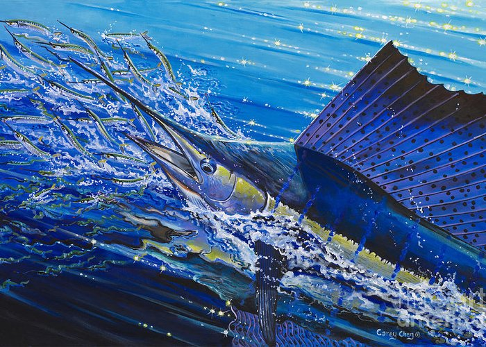 Sailfish Greeting Card featuring the painting Sail On The Reef Off0082 by Carey Chen