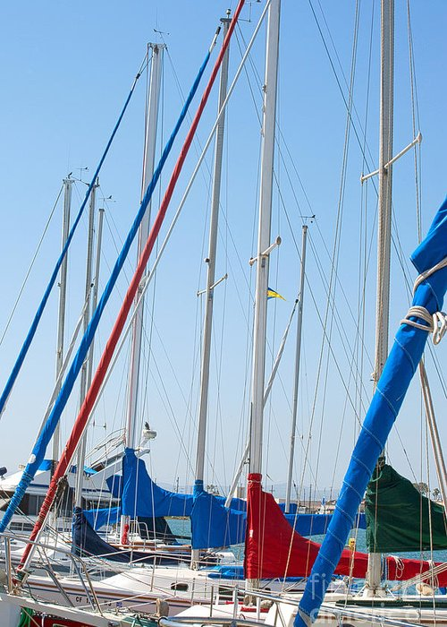 Sailing Greeting Card featuring the photograph Sailboat Masts by Artist and Photographer Laura Wrede
