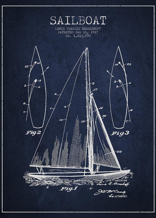Sailboat Greeting Card featuring the drawing Sailboat Patent Drawing From 1927 by Aged Pixel