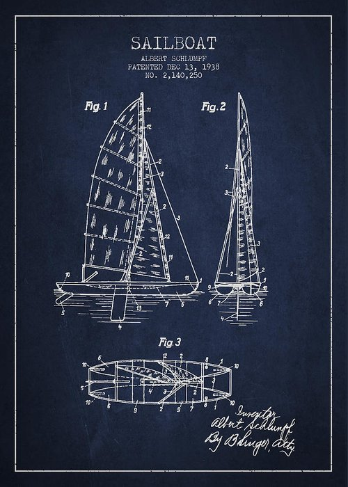 Sailboat Greeting Card featuring the drawing Sailboat Patent Drawing From 1938 by Aged Pixel