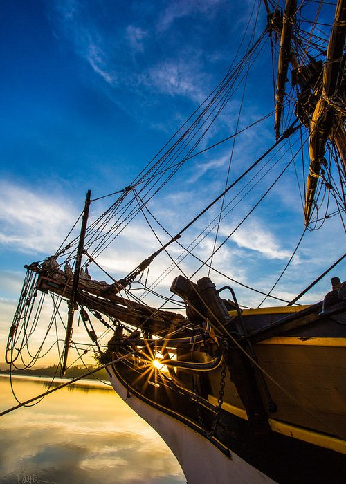 Tall Ship Greeting Card featuring the photograph Sailboat Sunrise by Robert Bynum