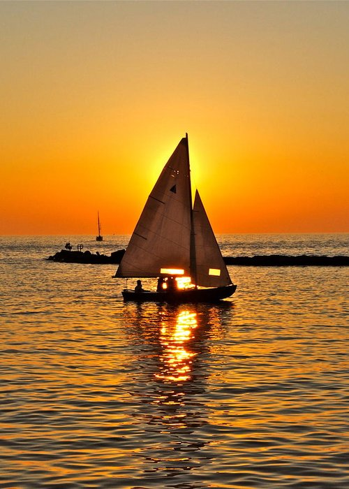 Sailing Greeting Card featuring the photograph Sailboat Sunset by Frozen in Time Fine Art Photography