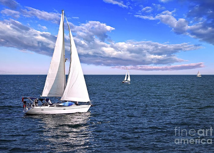 Boat Greeting Card featuring the photograph Sailboats At Sea by Elena Elisseeva