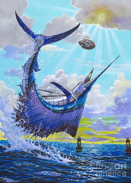 Sailfish Greeting Card featuring the painting Sailfish Football Off0030 by Carey Chen