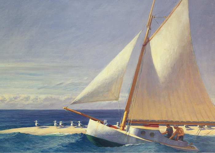 Boat Greeting Card featuring the painting Sailing Boat by Edward Hopper