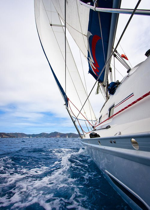3scape Photos Greeting Card featuring the photograph Sailing Bvi by Adam Romanowicz