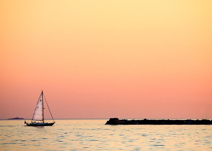 Sailing Greeting Card featuring the photograph Sailing In Color by Gary Heller