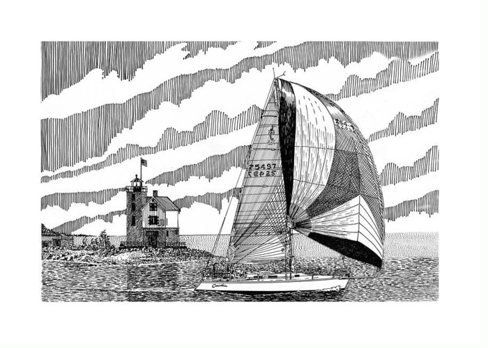 Yacht Portraits Greeting Card featuring the drawing Holland Harbor Lighthouse And Spinaker Flying Sailboat by Jack Pumphrey
