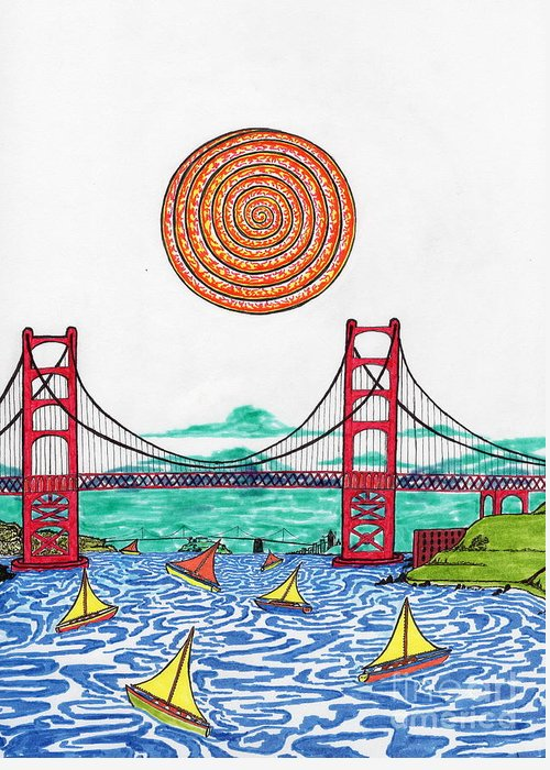 San Francisco Greeting Card featuring the drawing Sailing On San Francisco Bay by Michael Friend