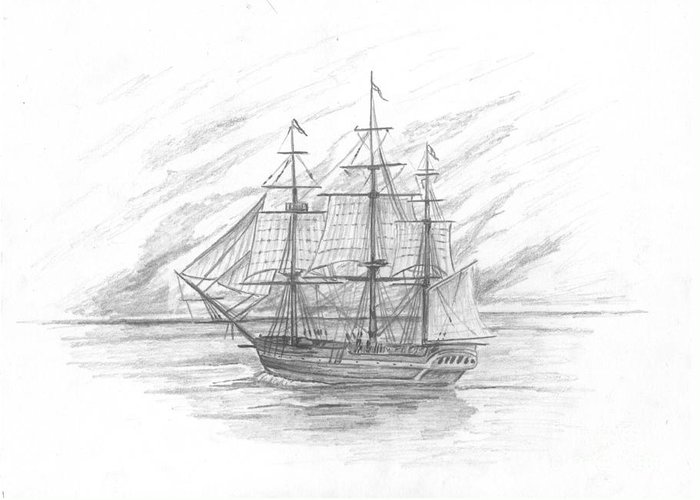 Naval Greeting Card featuring the drawing Sailing Ship Enterprise by Michael Penny