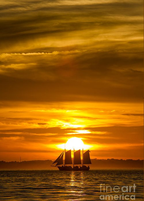 Sailing Yacht Schooner Pride Sunset Greeting Card featuring the photograph Sailing Yacht Schooner Pride Sunset by Dustin K Ryan