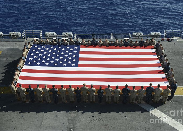 Horizontal Greeting Card featuring the photograph Sailors And Marines Display by Stocktrek Images