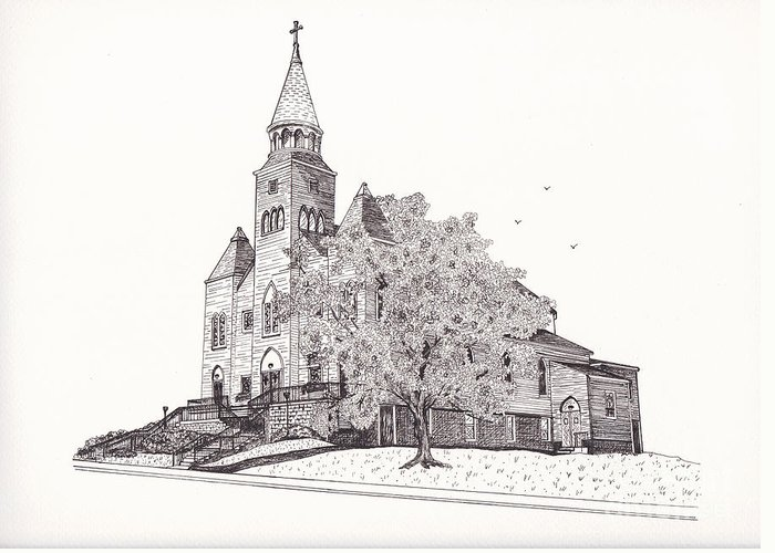 Architectural Art Greeting Card featuring the drawing Saint Bridget Church by Michelle Welles