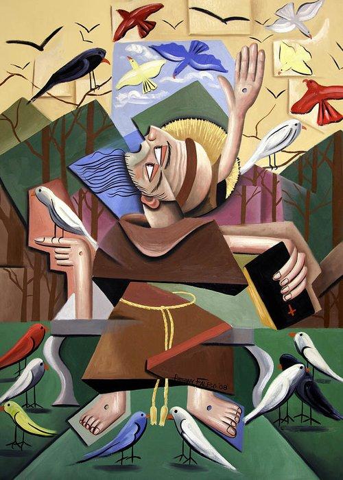 Saint Francis Sermon To The Birds Greeting Card featuring the painting Saint Francis Sermon To The Birds by Anthony Falbo