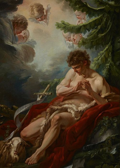 Saint Greeting Card featuring the painting Saint John The Baptist by Francois Boucher