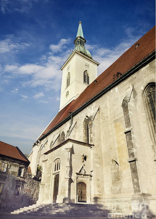 Bratislava Greeting Card featuring the pyrography Saint Martins Cathedral by Jelena Jovanovic