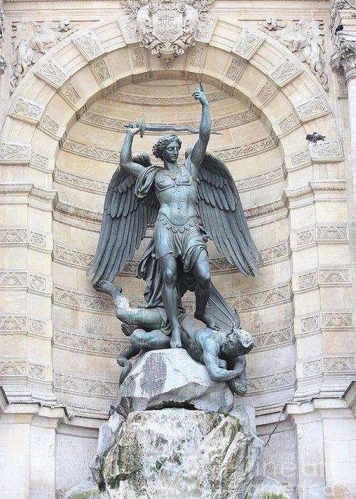 Saint Michael Greeting Card featuring the photograph Saint Michael The Archangel In Paris by Carol Groenen