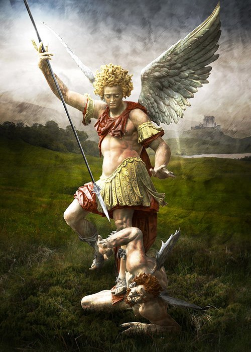 Angel Greeting Card featuring the photograph Saint Michael's Triumpf by Marc Huebner