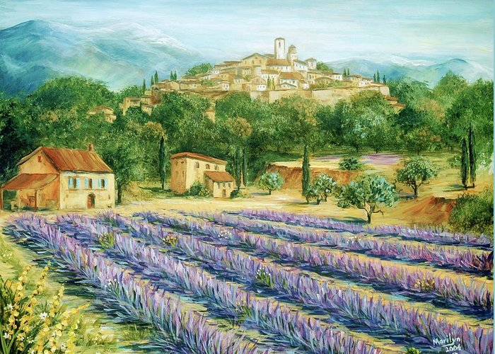 Europe Greeting Card featuring the painting Saint Paul De Vence And Lavender by Marilyn Dunlap