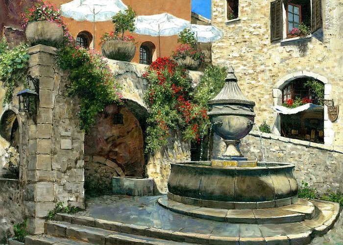 Vence Greeting Card featuring the painting Saint Paul De Vence Fountain by Michael Swanson