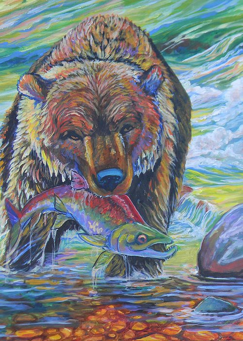 Bear Greeting Card featuring the painting Salmon Fishing Grizzly by Jenn Cunningham