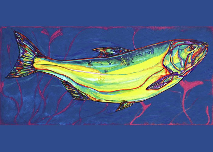 Salmon Greeting Card featuring the painting Salmon Of Knowledge by Derrick Higgins