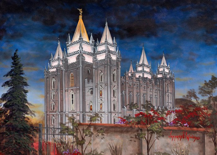 Temple Greeting Card featuring the painting Salt Lake Temple by Jeff Brimley