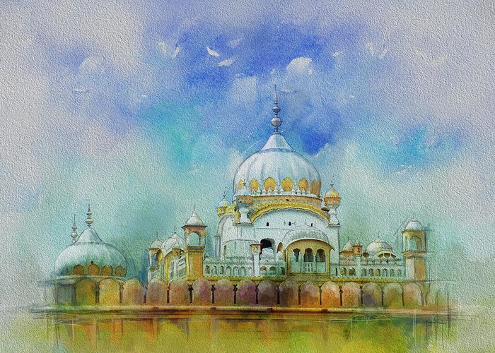 Pakistan Greeting Card featuring the painting Samadhi Ranjeet Singh by Catf