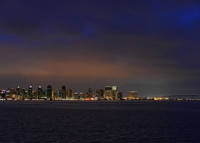 San Diego Bay Greeting Card featuring the photograph San Diego Night Sky by Christine Till