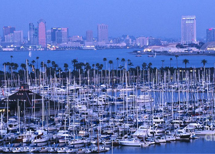 Panoramic Greeting Card featuring the photograph San Diego Twilight by Sandra Bronstein