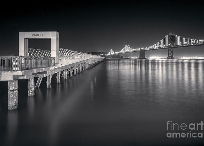 California Greeting Card featuring the photograph San Francisco Bay Bridge And Pier 14 by Colin and Linda McKie