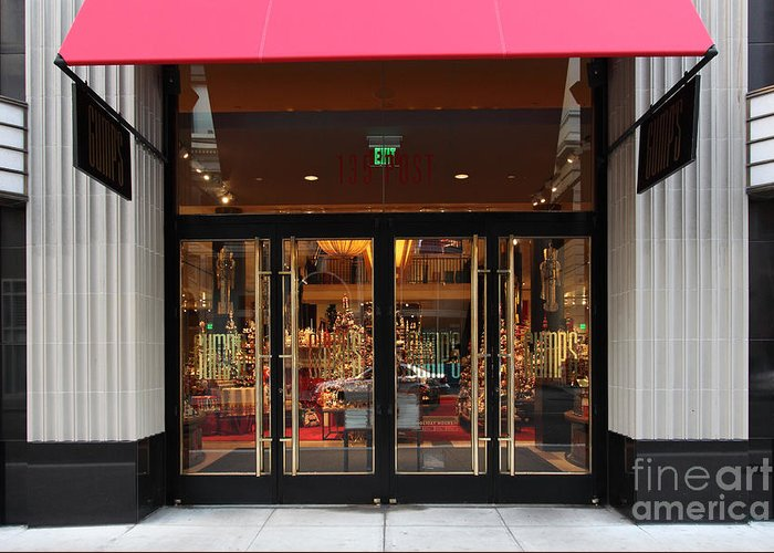 San Francisco Greeting Card featuring the photograph San Francisco Gumps Store Doors - 5d20588 by Wingsdomain Art and Photography