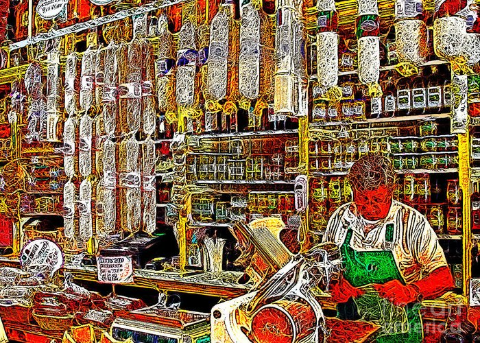 San Francisco Greeting Card featuring the photograph San Francisco North Beach Deli 20130505v1 by Wingsdomain Art and Photography