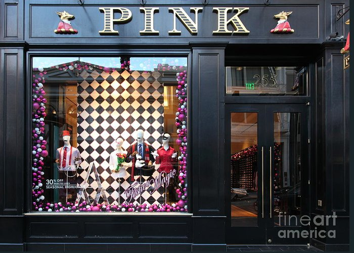 San Francisco Greeting Card featuring the photograph San Francisco Pink Storefront - 5d20565 by Wingsdomain Art and Photography
