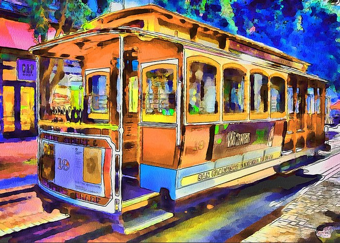 San Greeting Card featuring the digital art San Francisco Trams 1 by Yury Malkov