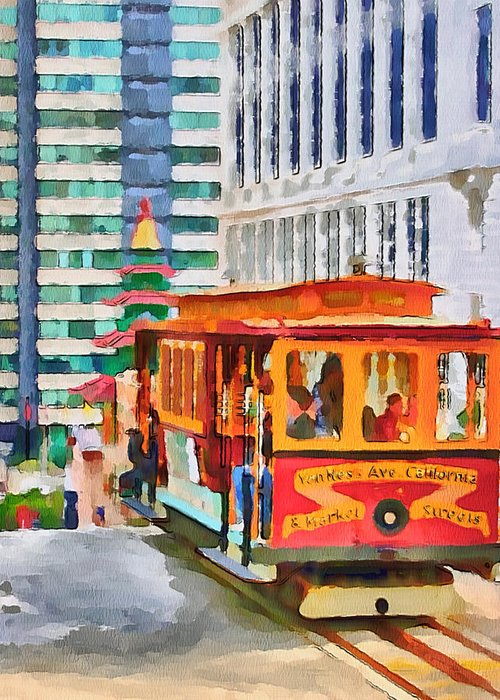 San Greeting Card featuring the digital art San Francisco Trams 6 by Yury Malkov