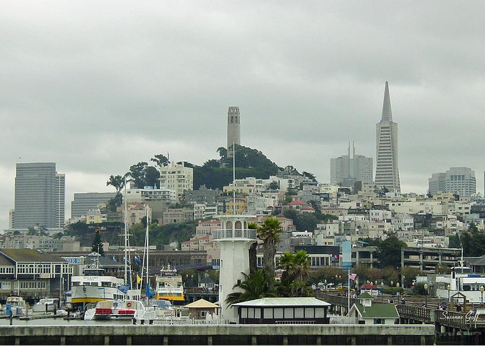 San Francisco Greeting Card featuring the photograph San Francisco View From Fishermans Wharf by Suzanne Gaff