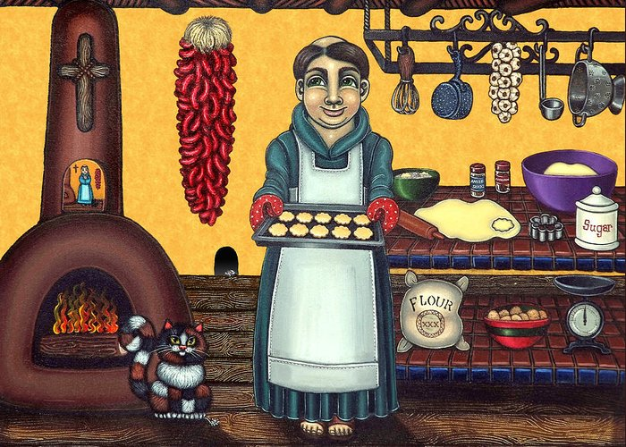 Folk Art Greeting Card featuring the painting San Pascual Making Biscochitos by Victoria De Almeida