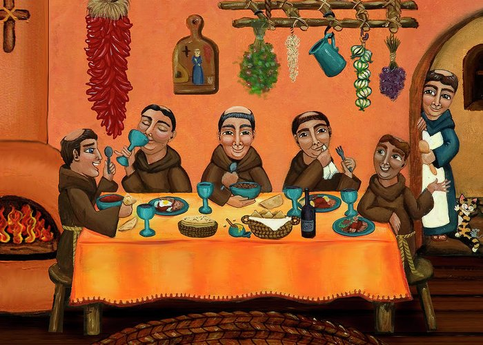 Hispanic Art Greeting Card featuring the painting San Pascuals Table by Victoria De Almeida
