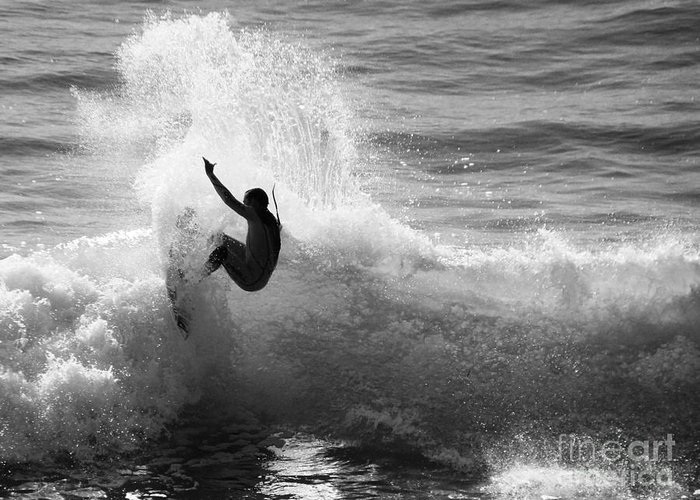 Surfing Greeting Card featuring the photograph Santa Cruz Surfer Black And White by Paul Topp