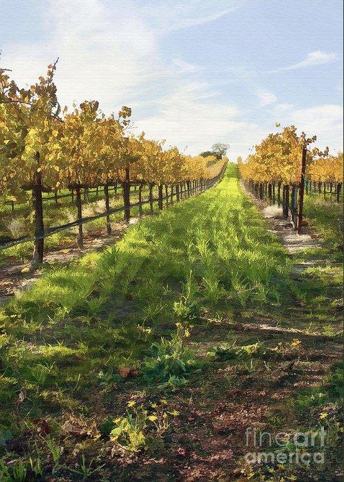 Vineyard Greeting Card featuring the digital art Santa Maria Vineyard by Sharon Foster